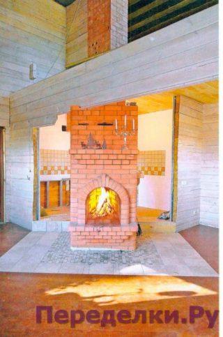 Печь с камином для зимней дачи