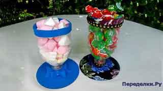 2 конфетницы из пластиковых бутылок