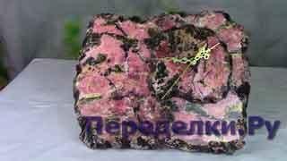 Каменные часы из родонита Имитация камня